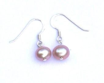 Pearl earrings, Sterling silver earrings, Hypoallergenic earrings, Pink earrings, Elegant earrings, Pink pearl earrings