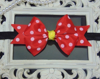 3.5 inch Mickey mouse Red Polka dot Boutique style Headband