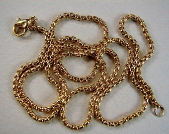 SALE 15% OFF. Stainless Steel Chain Necklace, gold plated, box chain, SIZE:2mm Length 19.5 Inch (3464-80)