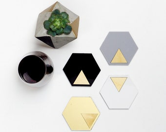 GEO - Coasters - Black - Gold - Grey - White