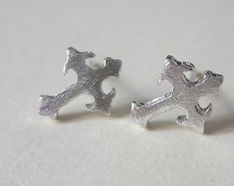 Cross earrings, 925 sterling silver ear pins, handmade
