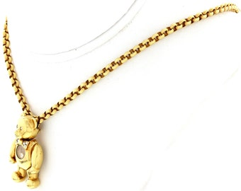 Ladies Chopard Teddy Bear 18K Yellow Gold and Diamond Necklace