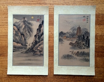 Pair of Chinese Shui-mo Silk Paintings – Xieyi (Hand-Painted) Ink & Colour Pigment – Vintage/Antique