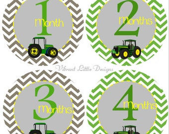 Monthly Baby Stickers Boy, Milestone Stickers, Month Stickers, Baby Month Stickers, Baby Stickers, Tractors #23
