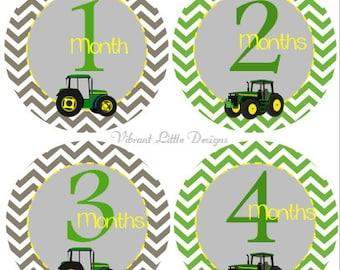 Monthly Baby Stickers Boy, Milestone Stickers, Month Stickers, Baby Month Stickers, Baby Stickers, Tractors #23