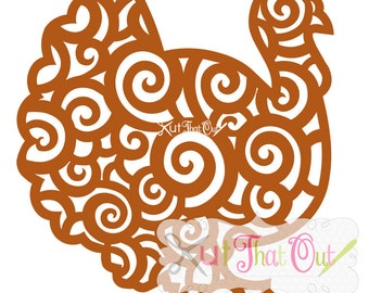 EXCLUSIVE Swirl Scroll Turkey SVG and DXF File