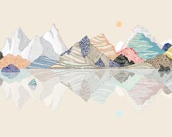 mountains illustration, limited edition print (cielo crudo)