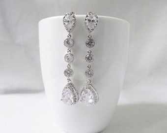 Crystal Bridal Earrings, Crystal Wedding earrings, Long earrings, Wedding Jewelry, Bridal Jewelry, bridal drop earrings, teardrop earrings,