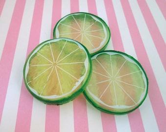 Realistic Lime Slice Cabochons Fruit Slices Citrus, #811