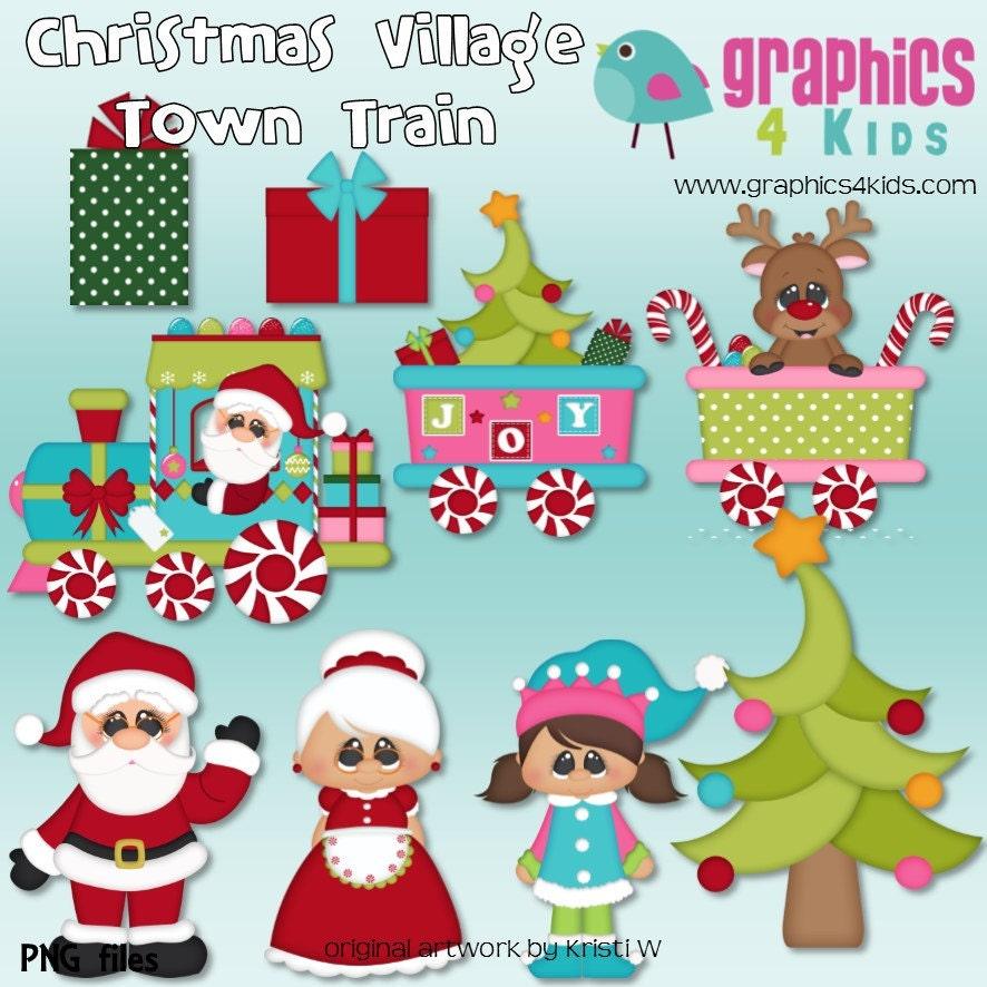Christmas village town train digital clipart clip art for