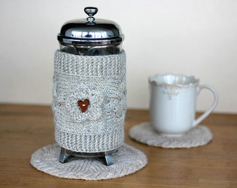 French Press Cozy Valentine's Day Gift for Girlfriend Mom wife, Knit French Press Cover Coffee Tea Pot Cozy Warmer, home decor, gift ideas