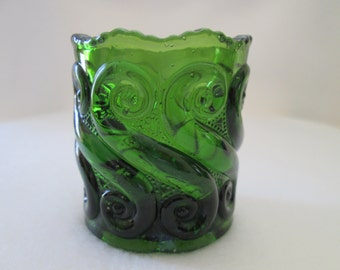 Vintage L G Wright Toothpick Holder S Pattern Green Molded Glass