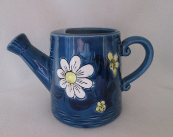 Vintage Japan Watering Can Planter Vase Blue Ceramic Pottery with Yellow and White Flowers