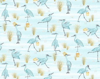 Barnacle Bay Teal Cranes from Studio E by the yard