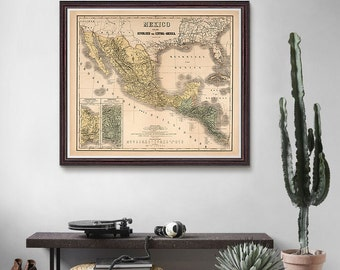 Mexico Antique Map 1886, Mexico Map, Central America Map, Mexico, Country Decor, Old Map- CP089