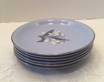 Homer Laughlin Blue Skytone Plates ~ Set of Six ~ Vintage