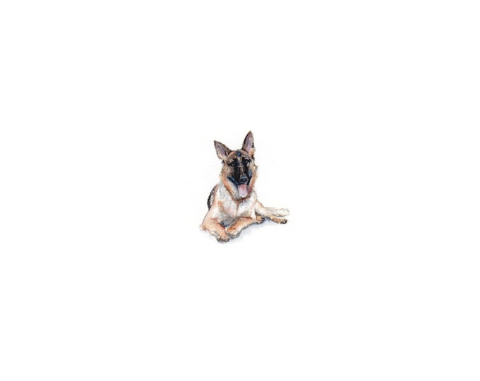 Print of Miniature painting of a German Shepard, tiny painting German Shepard Dog art 5 x 5