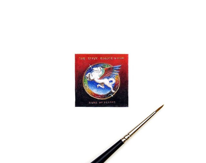 "Print of Miniature album art mini painting of The Steve Miller Band ""Book of Dreams"" Tiny album art"