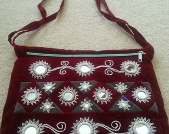 Vintage Crimson Velvet Purse with Mirror Accents