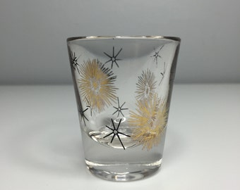 vintage retro atomic mid century starburst shot glass