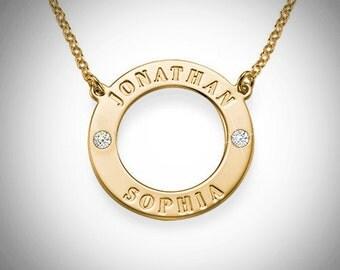 circle name necklace / sophia name necklace / karma name necklace