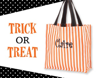 Halloween Treat Tote Orange/White Stripe tote candy bag trick or treat tote