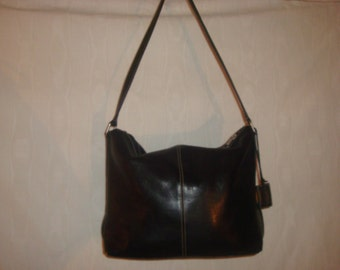 Final Clearance Large Black Leather Latico Shoulder Bag
