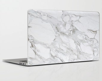 White Marble Laptop + Ipad Skin