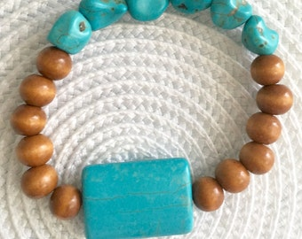 Wooden and Turquoise Stretch Bracelet, Yoga Bracelet, Stretchy Bracelet, Layering Bracelet