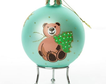 Light Blue Handpainted Glass Christmas Bear Bauble