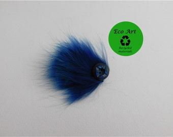 blue fur brooch, wedding accessory, fur button brooch, fur pin, pin, recycled fur, bridal pin, bridal brooch, bridal, wedding fur, wedding