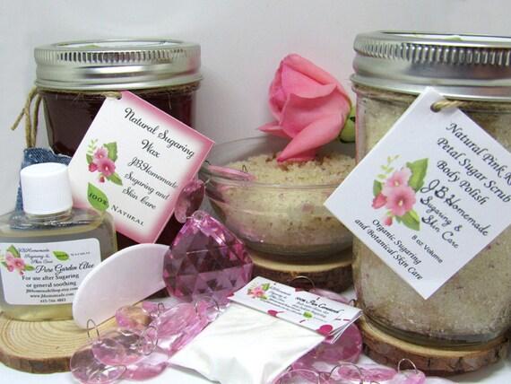 Sugaring Wax & Natural Pink Rose Petal Sugar Scrub Bundle
