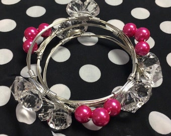 Pearly in pink Bangles