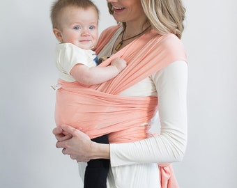 Baby Wrap, Pink Baby Sling, Newborn Baby Carrier, Infant Carrier, Baby shower Gift, Peach Infant Wrap