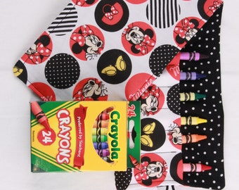 Crayon Roll Minnie Mouse, Crayon Holder, Birthday Party Favor, holds 16 crayons, 24 pack of Crayola Crayons Included