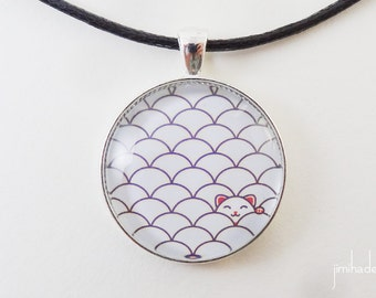 Pendant with Japanese wave pattern and cat >> Valentine's Day present for her