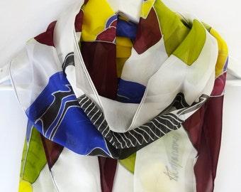 Summer silk scarf,Silk scarf,Hand painted silk scarf,Scarab beetle,Handmade silk scarf,Painted scarfs,Unique silk scarf,Large silk scarf