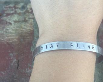 Stay Alive- Hand Stamped Twenty One Pilots Bracelet
