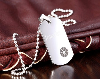 Personalized Stainless Steel Engravable Basketball Dog Tag