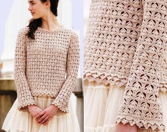 Les femmes  pull crochet écru couleur / custom