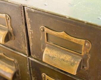 Metal Storage Piece with 4 Drawers | Metal Card Catalog