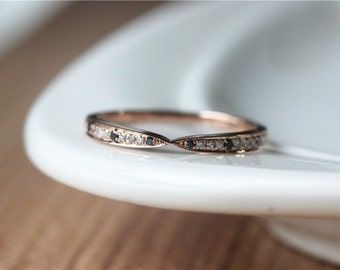 14k Rose Gold Natural Diamond & Black Diamond Wedding Band/Wedding Band/Match Band/Wedding Ring Set/Diamond Band/Diamond Ring