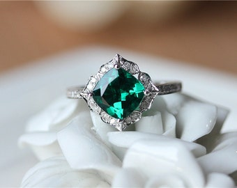 7mm Cushion Cut Emerald Engagement Ring/Wedding Ring/Anniversary Ring/Vintage  Floral Emerald Engagement Ring/Cushion Cut Color Gemstone Ring