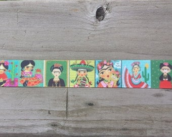 "1"" Grosgrain Ribbon Loteria, Latina, Mexican, Senorita, Day of the Dead, cactus, Sombrero"