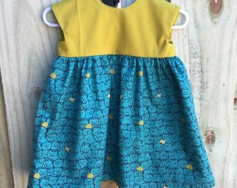 Kitty Print Dress in Teal and Mustard