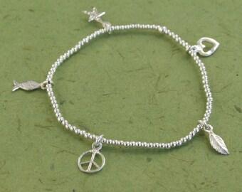 Silver Bracelet, Silver Charm Bracelet, Stretch Bracelet, Stackable Bracelets,Beads Bracelet,Heart+fish+starfish+Leaf+Peace+Feather pendants