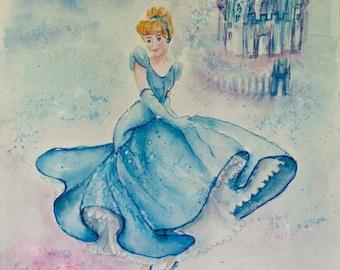 Cinderella, Cinderella Art, Princess Wall Art,  Art birthday gift, Original Watercolor, Princess decor, Girls room decor, princess nursey