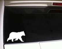 "Bear Walking Silhouette Decal Vinyl Sticker 6"" *E16 Smokey Mountains Black Bear Brown Bear Grizzly Hunting Nature Wildlife Alaska"