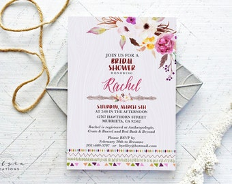 Boho Glam Bridal Shower Invitations