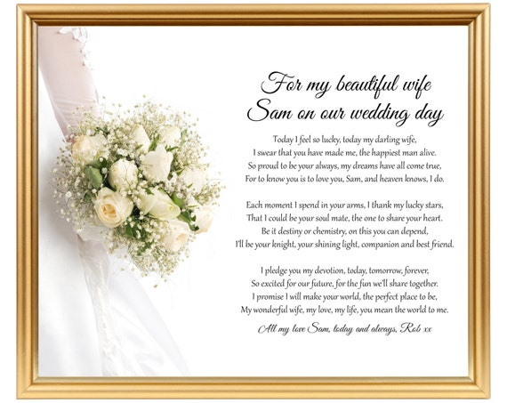 Wedding Day Gift For Wife: Groom To Bride Wedding Gift Poem Gift For Wife On Wedding